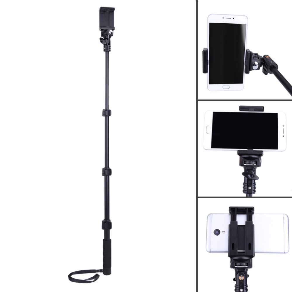 "YunTeng C088 Extendable Selfie Stick Monopod Bottom With 1/4"" Screw Hole With Phone Holder for Iphone Gopro 360 Rotated Degree"