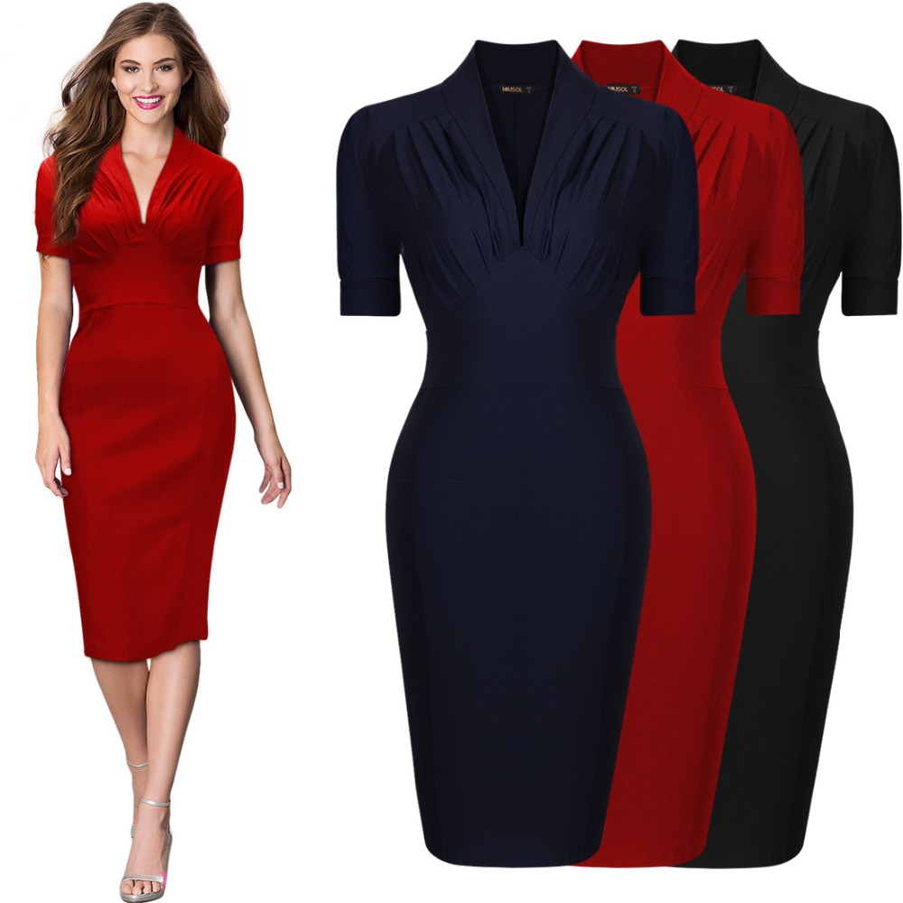 Wholesale Womens Pinup Retro 1940s Vintage Cocktail Party Short Prom Cute V Neck Pencil Bodycon