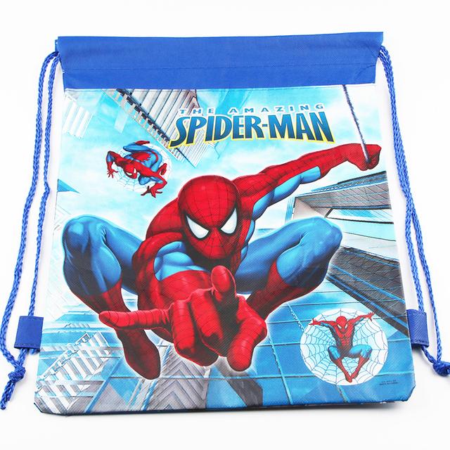 Новый человек паук школьные сумки дети шнурок рюкзак для мальчиков мультфильм обратно ...