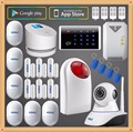 Russian English PSTN GSM Wifi Internet GPRS Alarm Systems Security Home with IP Camera Wireless Siren