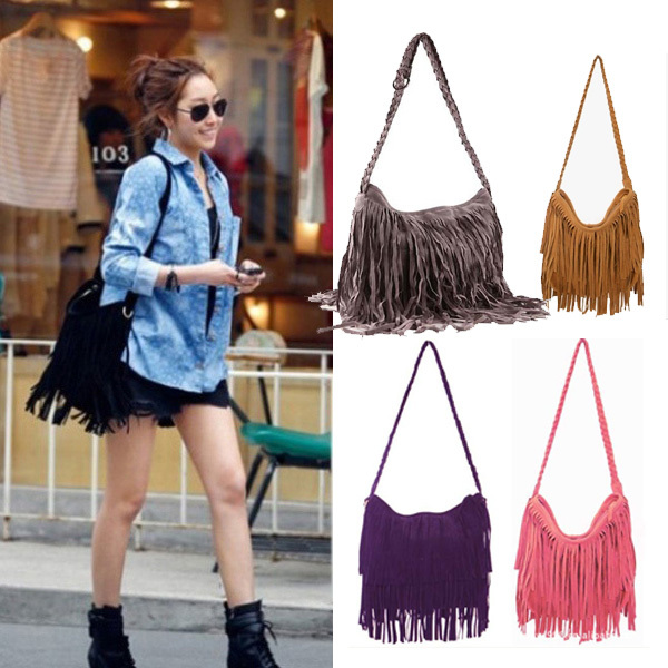 2015 Hot Sale Fashion Shoulder Bag + Vintage Tassel Cross Women Messenger Bags Popular Women Stylish Handbag Free Shipping(China (Mainland))