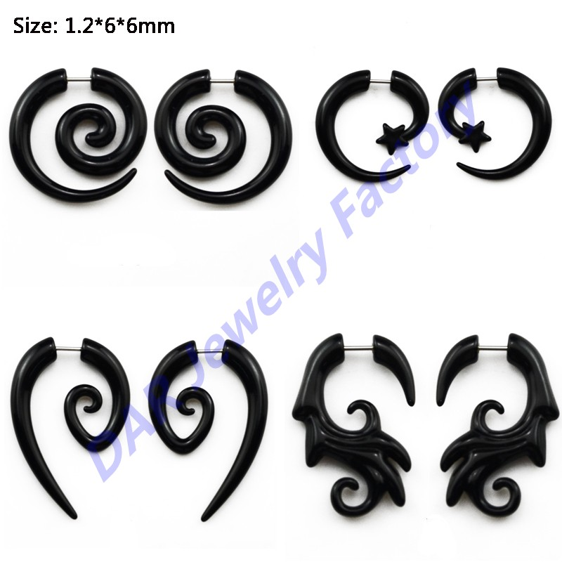 DAR 200pcs Black Acrylic Cheater Ear Taper Jewelry With Spiral Swirl Fake Ear Taper Piercing For Unisex 1.2*6*6mm