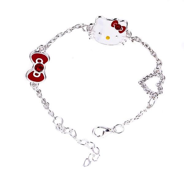 Korean Fashion Heart Hello Kitty Bracelet Bowknot Bracelet Free Shipping(China (Mainland))