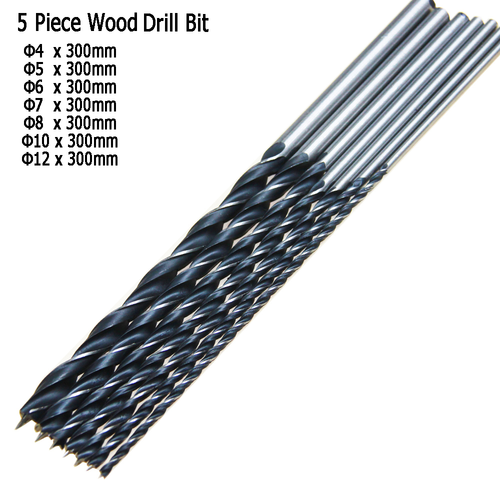 "Free Shipping 7PC 12"" 300mm Brad Point Drill Bits Set Tools Wood Boring Extra Long Drill For Woodworking 4/5/6/7/8/10/12mm(China (Mainland))"
