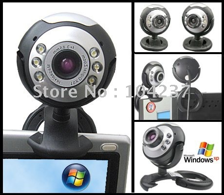 wholessale ,5pcs/a lot ,the webcam with one lens and 6 LED lights ,pc camera w/mic