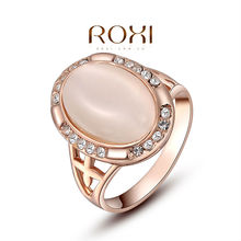 ROXI exquisite rose-golden plated elliptical pearl rings,fashion jewelrys,factory price,Chirstmas gifts,high quality