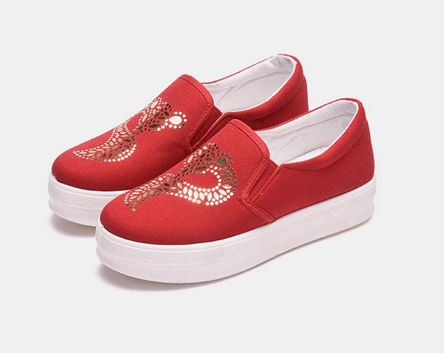 Spring 2016 new women casual slip-on canvas shoes heavy-bottomed lazy loafers shoes star heart pattern print stripes flats<br><br>Aliexpress