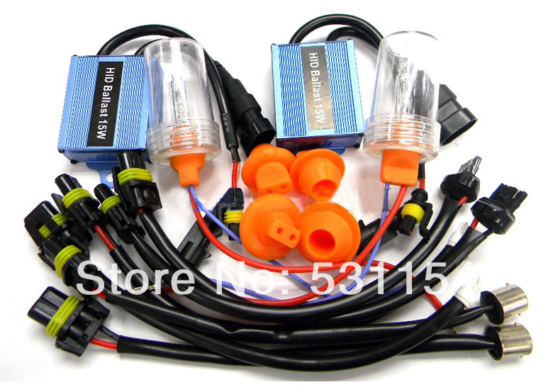 HOT SALE 15w T10 T15 T20 HID Xenon Reverse Light hid kits 2pcs Slim Ballasts + 2 pcs 6000K hid bulbs Hid Backup Light()