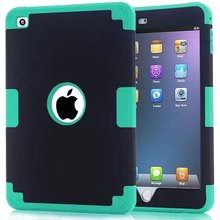"""50pcs/lot Free shipping 12colours Three layer Silicone+Plastic shell colorful case cover for ipad mini 4 7.9"""" back case(China (Mainland))"""