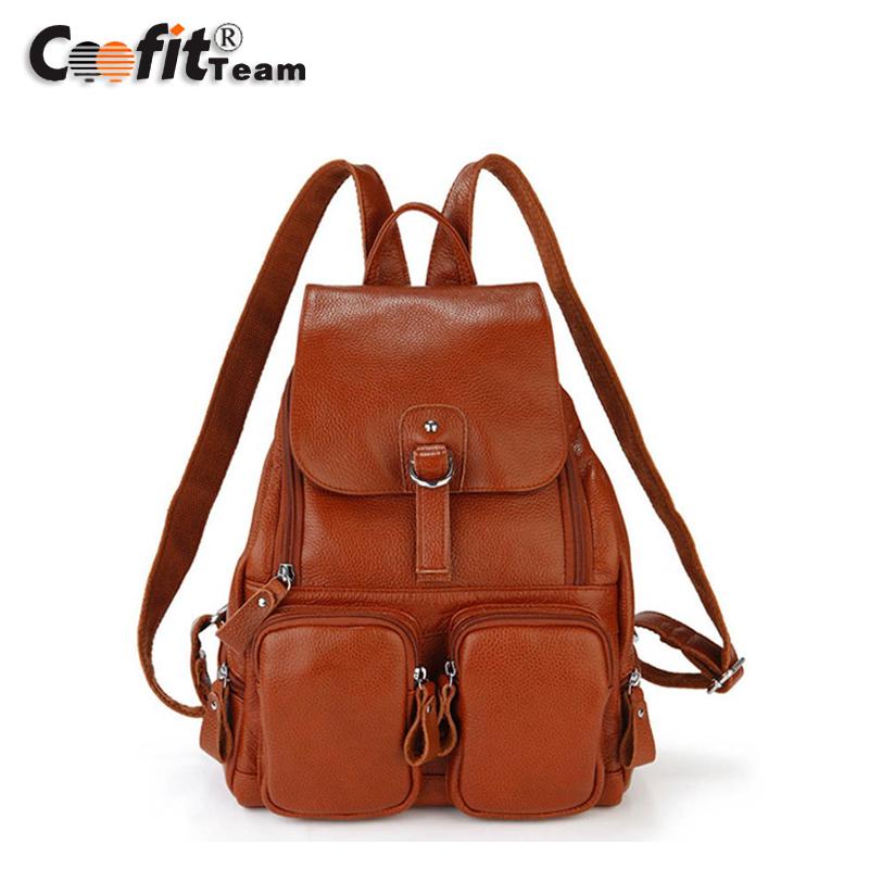 2016 New Brand Design Genuine Leather Womens Backpacks Cowhide Shoulder Bag Hot Sales Ms School Bag Travel Backpack<br><br>Aliexpress