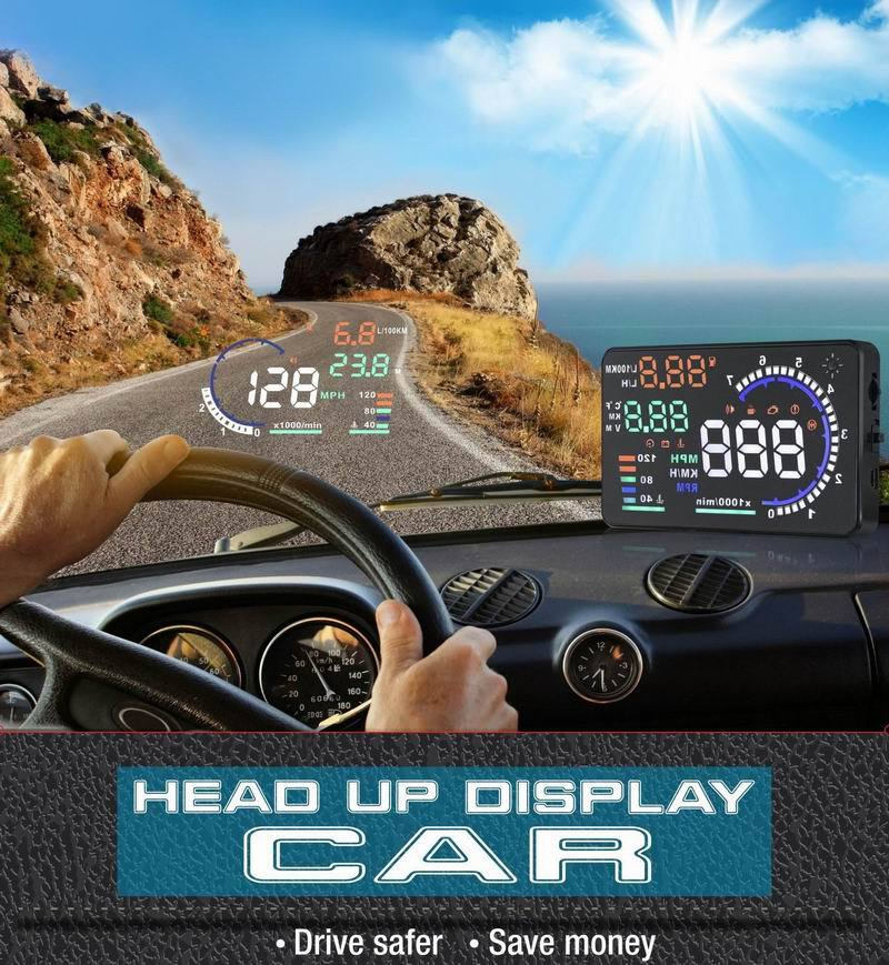2015 New A8 Car HUD Head Up Display OBD II car styling 5.5 Inch Display car alarm system for Overspeed & Fresh Driving OEM(China (Mainland))