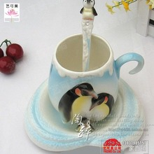Penguin enamel porcelain coffee cup package cup cup Franz married celebration ceremony decorations Home Decoration items