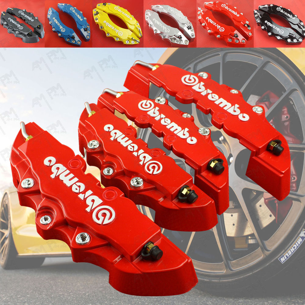 Free Shipping!! 4pcs New Brembo Style Red Disc Brake Caliper Covers Front And Rear Set Car Truck 3D For A3 A4 A5 A6 Quattro(China (Mainland))