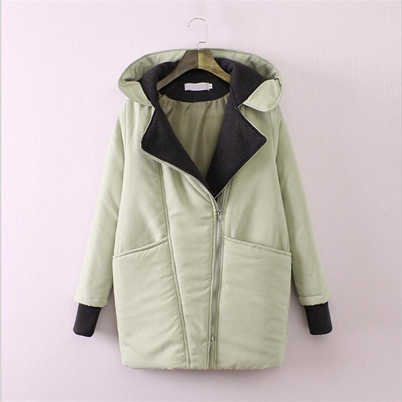 European Style 2015 New Warm Winter Jacket Women Loose Cotton Parkas Mujer Long Hooded Winter Coat Women Manteau Femme QY195