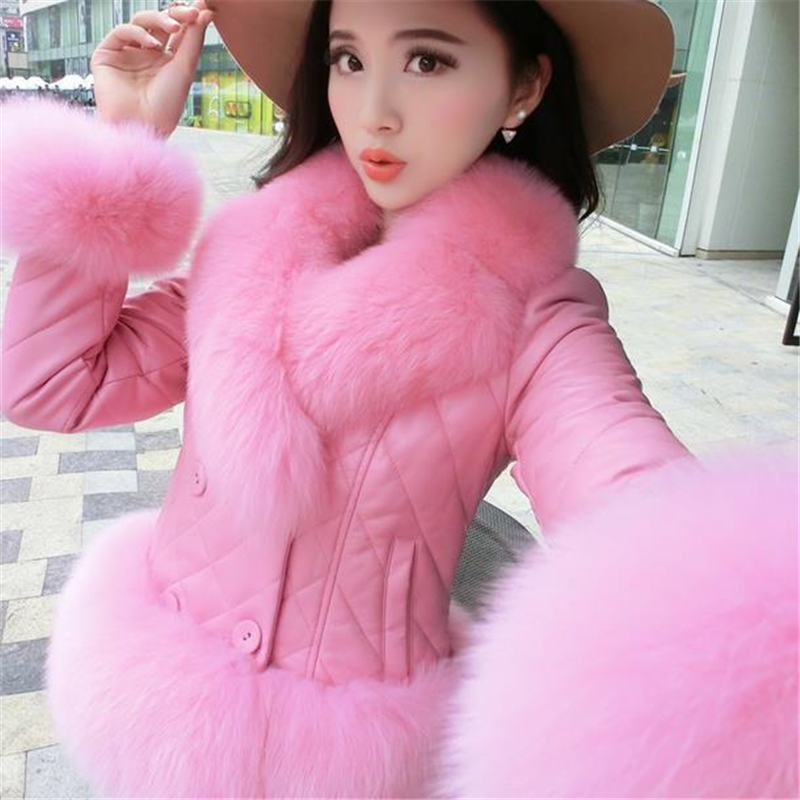XS-2XL 7 Colors 2015 New Winter Women Coat Artificial Fox Fur Collar Sheep Leather Jacket Female Short Patchwork Outwear ZS418(China (Mainland))