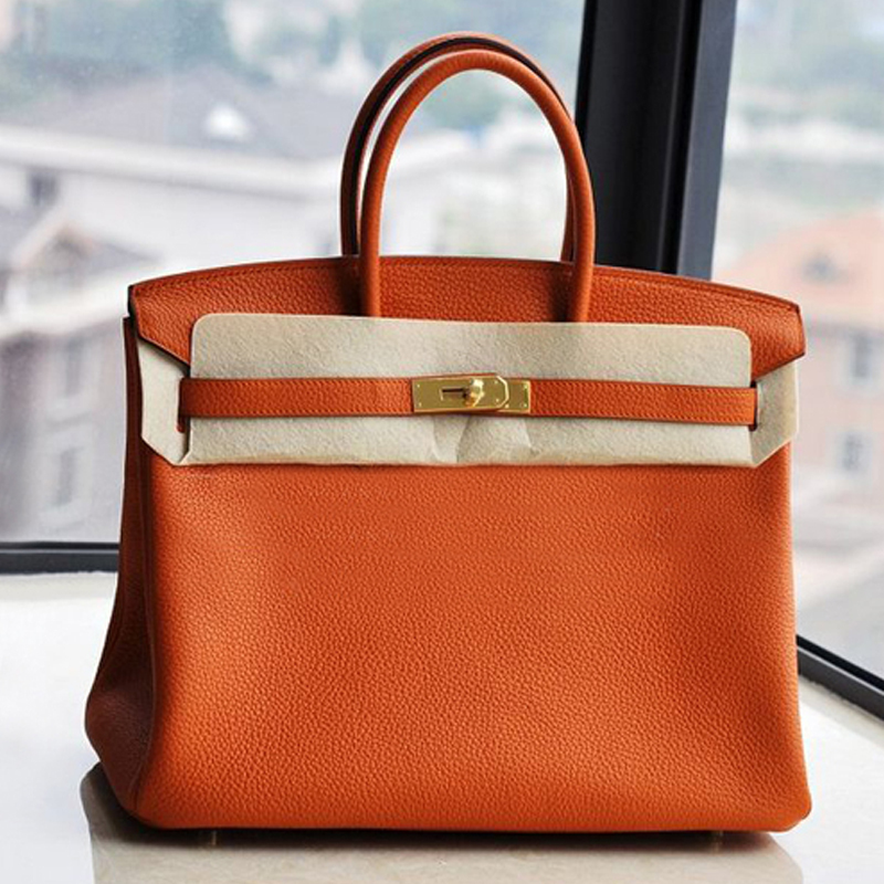 Top High Quality H Women Handbag Genuine Leather Lady Bag Real Brand Designer Tote Orange Handbags Fashion Female Famous Bags(China (Mainland))