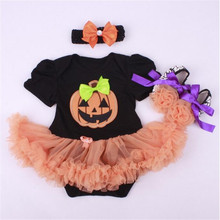Halloween Newborn Tutu Dress ,Pumpkin Newborn Clothing Sets,Toddler Girls Decorate Festival Sets,Fashion Baby rompers set(China (Mainland))