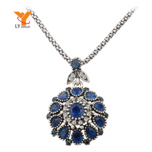 Hot 2016 Gorgeous Bohemia Vintage Jewelry Fashion Resin Silver -Plated Women For Pendant Long Necklace Crystal Gifts(China (Mainland))