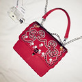 2017 New Women Rivets Embroidery Flowers Flap Messenger Crossbody PU Leather Bags Single Shoulder Handbag Chains