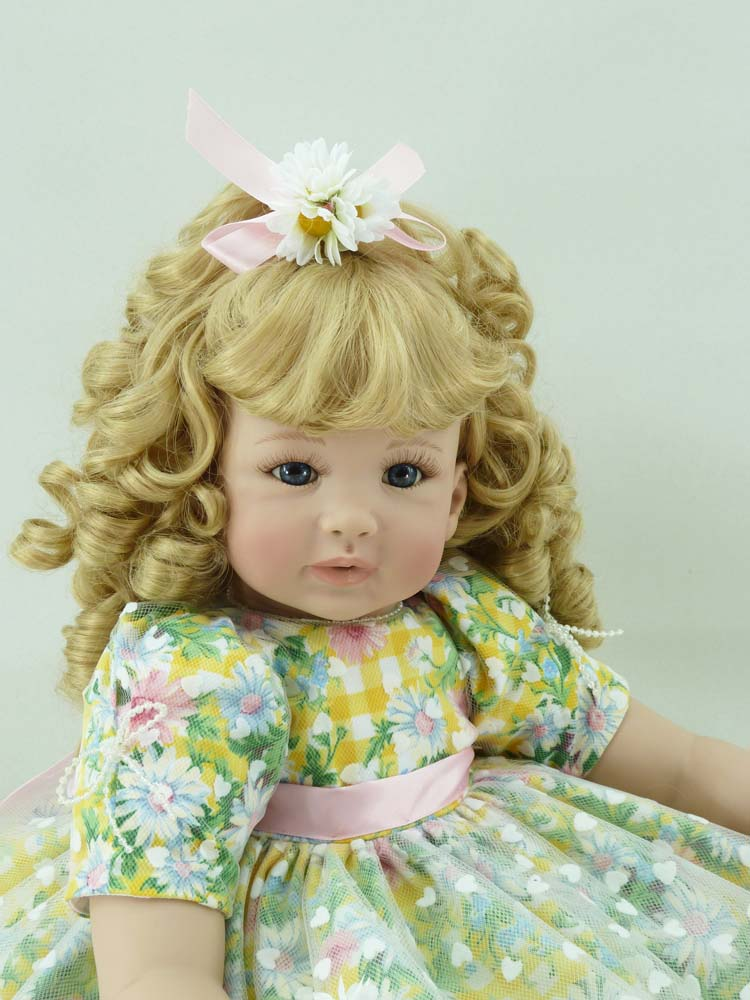 22 inch 55cm Silicone baby reborn dolls, lifelike doll reborn babies for Children's toys blonde hair girl(China (Mainland))