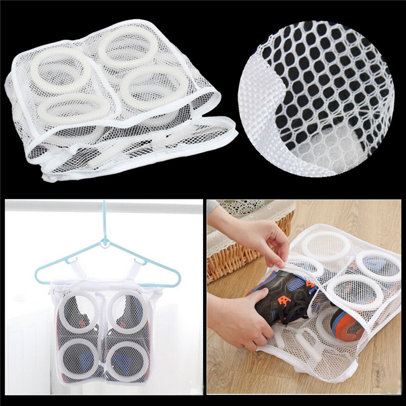 Portable And Comvenient Sneaker Tennis Sports Shoe Laundry Net Wash Washing Hanging Bag Shoes Cleaner Home Bathroom Travel(China (Mainland))