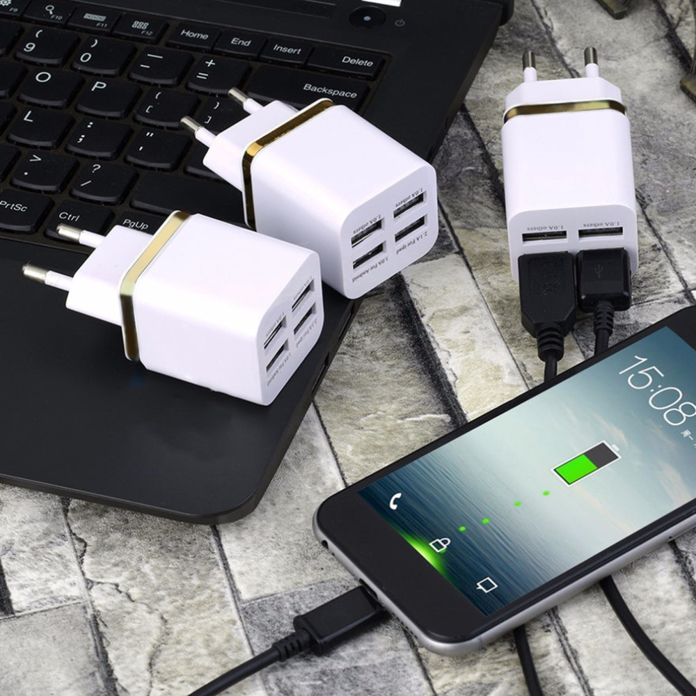 IN STOCK! Universal 4 Ports USB Travel Wall Charger Multi Power Adapter Pack EU Plug Various USB Devices DC 5V- 5100mA