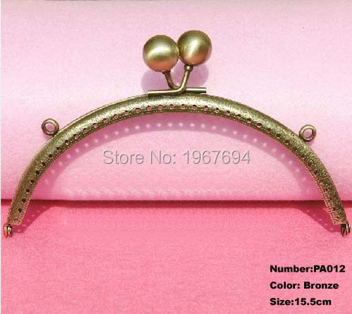 Free Shipping PA012 2pcs Blank Purse Frame Hanger 15.5cm Bronze Metal Clasps Purses Accessories Handles Handbags Diy Bag Parts(China (Mainland))