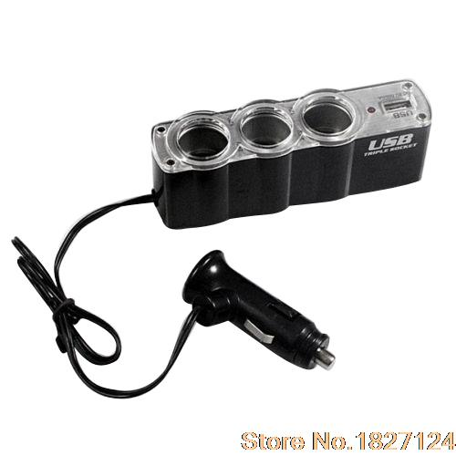 2015 Popular StyleCar Cigarette Lighter Multi Socket Splitter 3 Way USB Charger Adapter DC 12V 4MEB