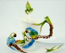 1 cup with tea tray and tea spoon 3D parrot wedding tea/coffee cup set luxury ceramic China