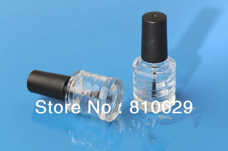 Free Shipping 50pcs/lot 6ml Round Personalized nail polish bottles Supplier in Bulk frosted black cap clear bottle(China (Mainland))