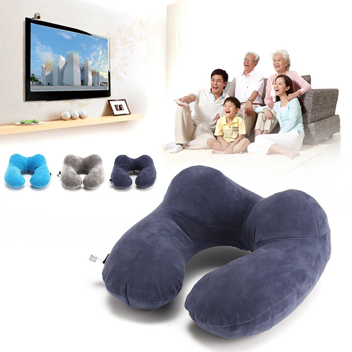 Folding Neck Air U Shape Neck Travel Pillow Cushion Inflatable Portable Comfortable Business Trip Outdoor for Sleep Home Textile(China (Mainland))