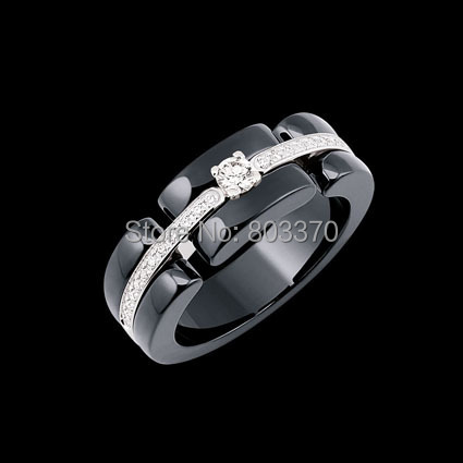 Brand New Ceramic Ring Setting AAA Cubic Zircon Stone Stainless Steel Rings for Women White Black  Packed Jewelry Box