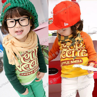 2012 autumn cartoon letter male girls clothing baby long-sleeve T-shirt basic shirt tx-0534