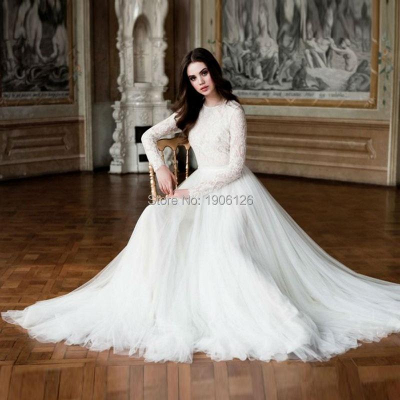 Winter Wedding Dress Simple : Vestido de casamento simple winter wedding dress lace long sleeve