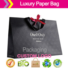 Luxury Shopping Paper Bag/ clothing High-end brand black Hot stamping surface treatment(China (Mainland))