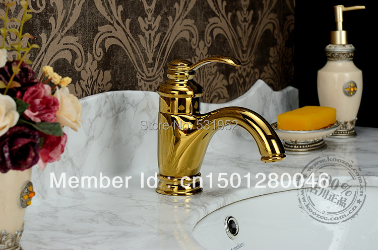 single lever basin mixer tap faucet gold color two handle ceramic disc lavatory high grade brass copper hotel bathroom classic(China (Mainland))