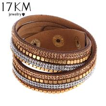 2016 Fashion Faux Leather Bracelet Brand New 6 Colors Crystal Women And Men Bracelets Vintage Statement Cuff pulsera Accessories(China (Mainland))