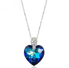 Buy 2017 new arrival hot sell 925 sterling silver love heart blue crystal ladies`pendant necklaces jewelry wholesale gift chain for $5.10 in AliExpress store