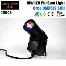 Buy Mini Size 10pcs/lot 10W Cree LED Pinspot Light DMX Led Beam Scan RGBW 4IN1 American DJ Pinspot DMX Lights pinspot led TIPTOP CE for $340.00 in AliExpress store