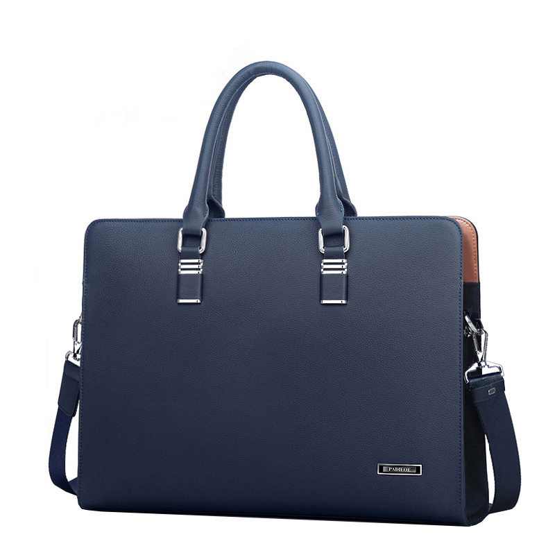 Best quality genuine real cow leather messenger bags luxury business men's briefcases bag black blue leather handbags man 48ZP01(China (Mainland))