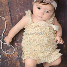 SALE Cream Petti Lace Romper Girls Outfit, Smash Cake Outfit, Ruffled Romper(China (Mainland))