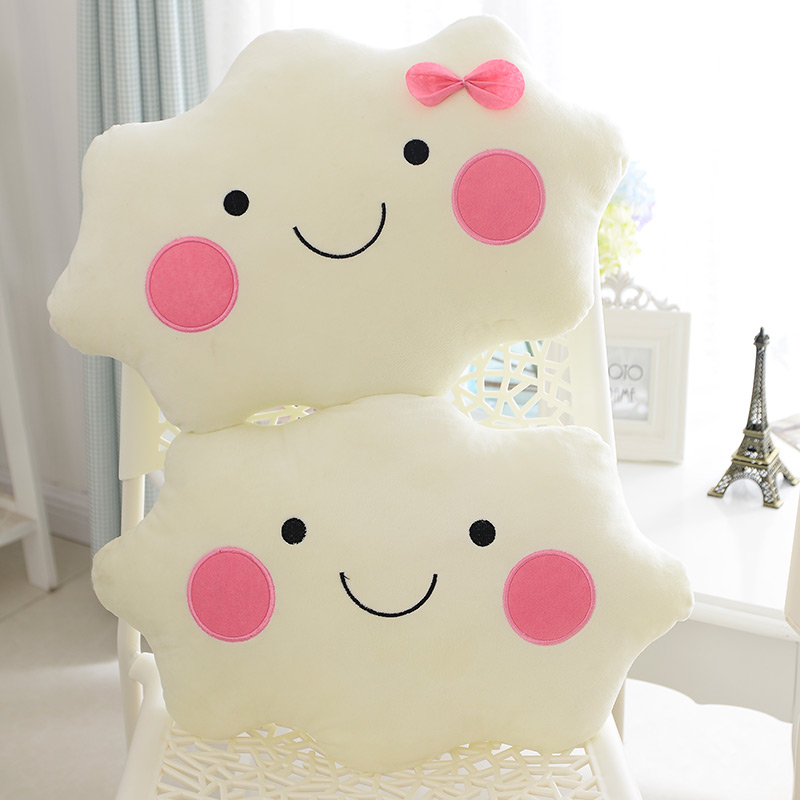 New Coming 35x28CM Kawaii Soft Smiley Face Bow Cloud Pillow Cotton Stuffed Cushion Plush Toy Kids Girlfriend Birthday Gift(China (Mainland))