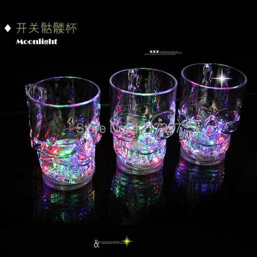 wholesale Free shipping 24pcs/lot LED party drinking glasses Drinkware Flashing LED Goblet Cup flashing cola cups Bar Club Party(China (Mainland))