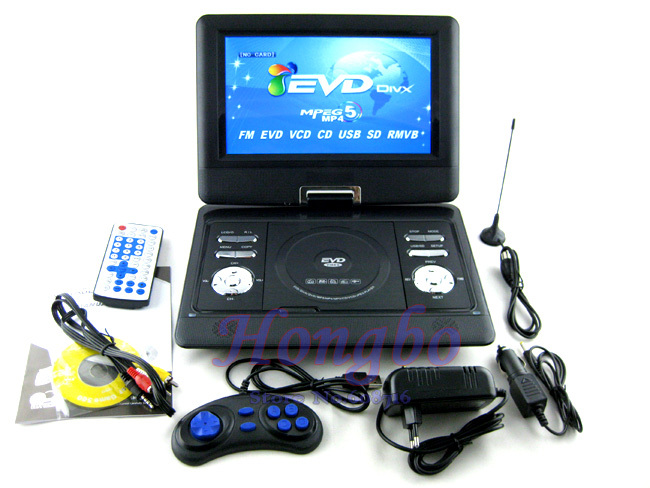 Free shipping to RU !13.8 Inch Portable DVD Player With Game And TV Function, Game Function, Support SD / MS / MMC Card(China (Mainland))