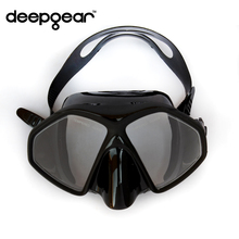 DEEPGEAR Frameless scuba diving mask Black silicone Tempered glass dive mask Twin lens adult scuba dive mask snorkel equipment(China (Mainland))