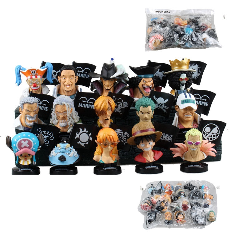 Anime one piece 15pcs/set figure Bust Luffy Chopper Zoro Silvers Rayleigh Head Portrait pvc action model toys juguetes - Goog mood store