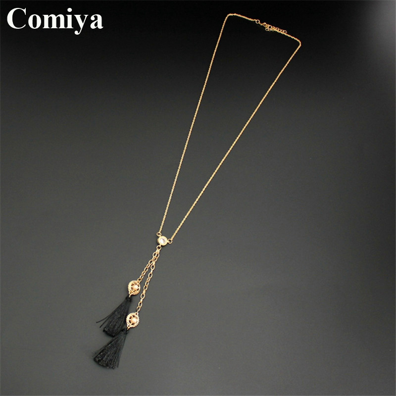 Comiya double side imitation pearl black tassel pendants long gold necklaces women necklace gift rhinestone collana con pendente(China (Mainland))