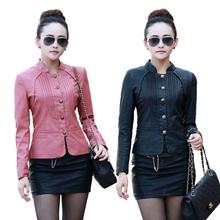 2016 Spring Autumn Women Fashion Motorcycle Faux Leather Jacket Women PU Leather Coat Short Design Female Leather jacket M-5XL(China (Mainland))