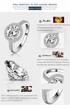 Elegant Top Quality Women Wedding Ring 18K Gold Platinum Plated Hearts Arrows Cut Round Cubic Zircon