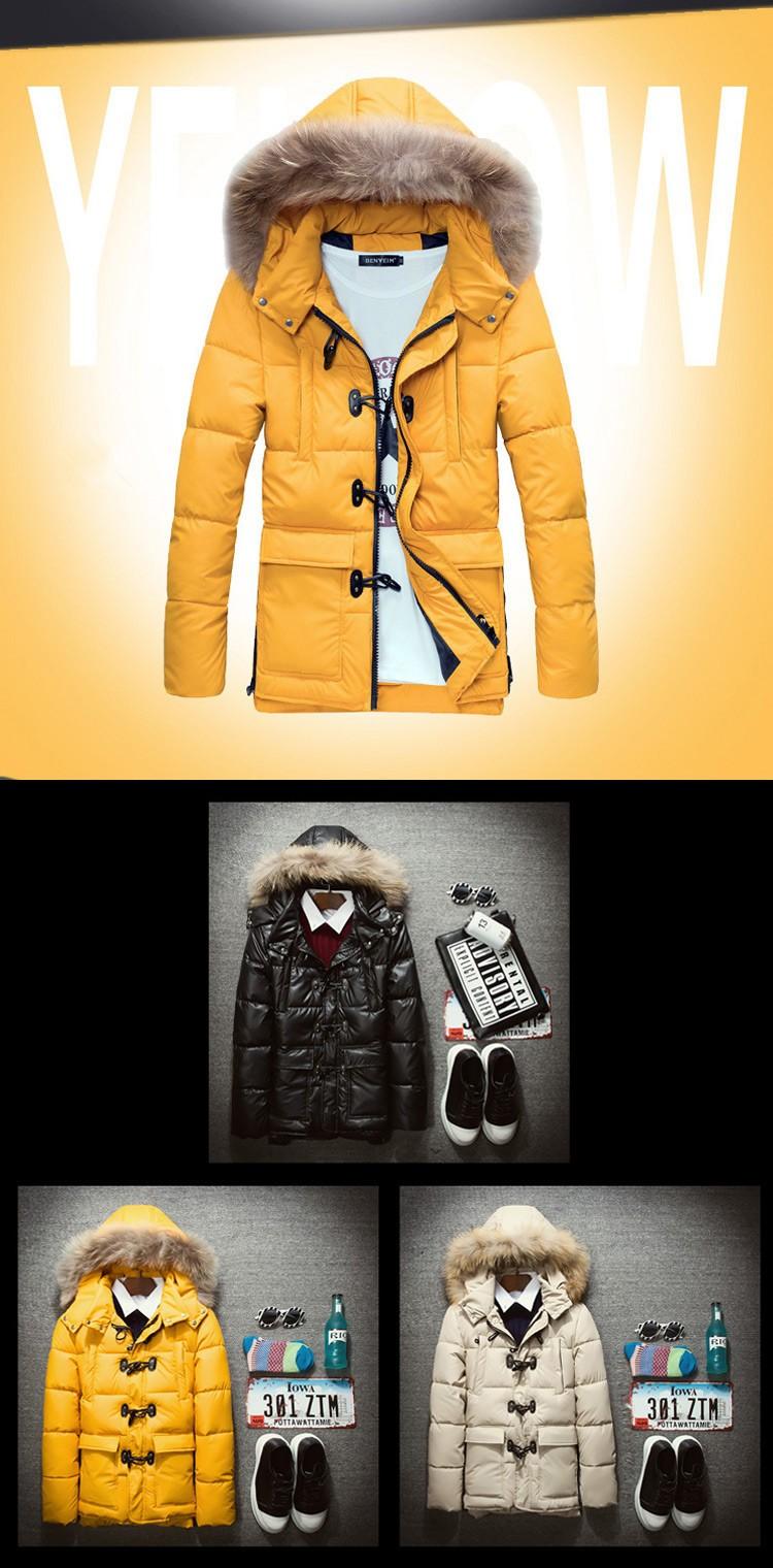 Men Winter Jackets Mens Thick Warm Parkas Fur Collar Hooded Down Coat Male Casual Jacket Men chaqueta hombre Plus size M-XXXL